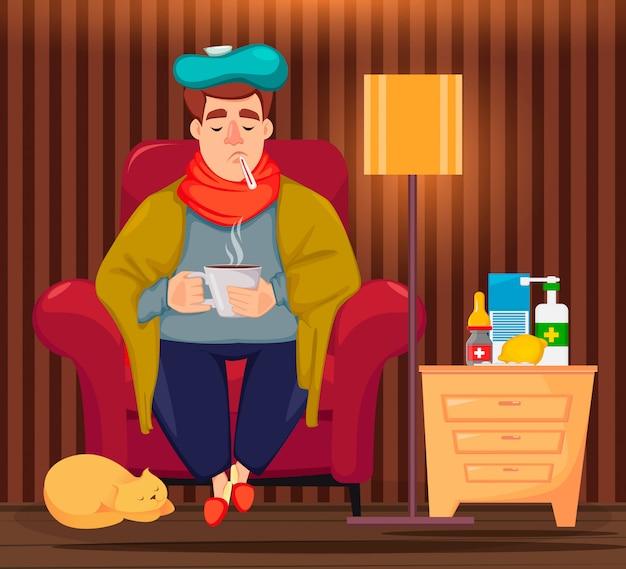 Homme malade assis dans un fauteuil Vecteur Premium