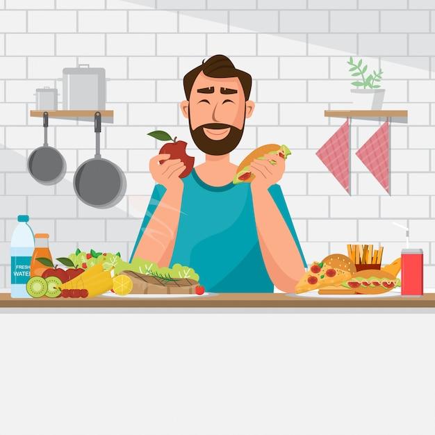 L'homme mange des aliments sains et de la malbouffe Vecteur Premium