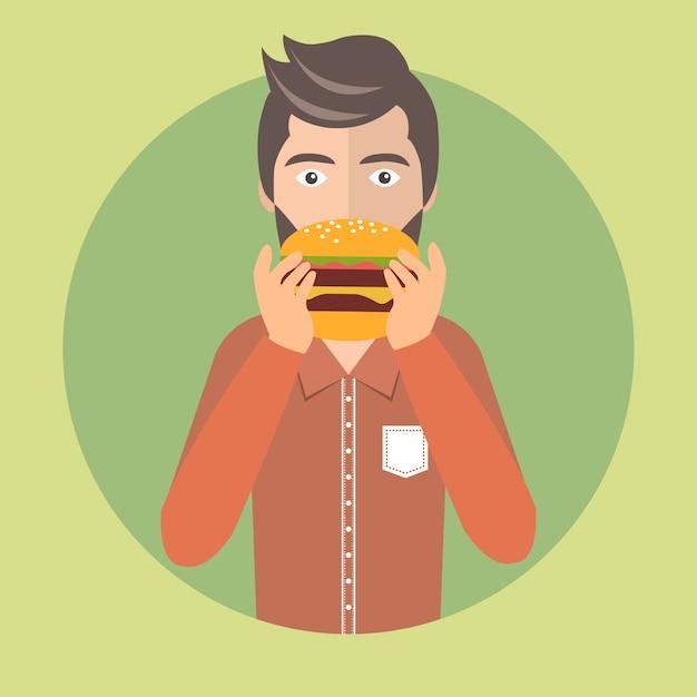 Homme, manger, hamburger Vecteur gratuit