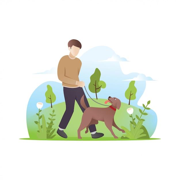 Un homme marchant avec son chien Vecteur Premium
