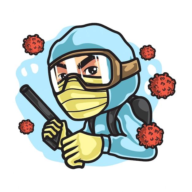 Homme Avec Des Matières Dangereuses, Lutte Pour Le Virus Corona Vecteur Premium