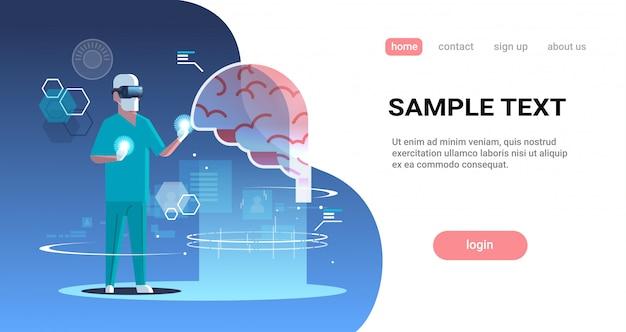 Homme Médecin Portant Des Lunettes Numériques Réalité Virtuelle Cerveau Organe Humain Anatomie Médical Vr Casque Vecteur Premium