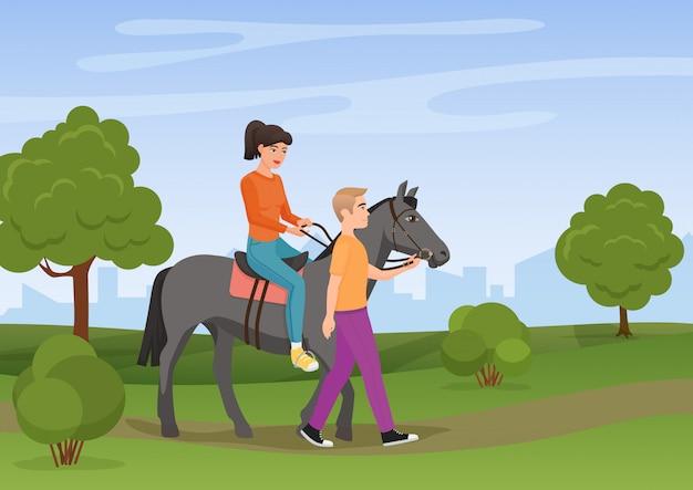 Homme Menant Le Cheval Avec La Femme à Cheval Sur Elle Illustration Vectorielle. Vecteur Premium