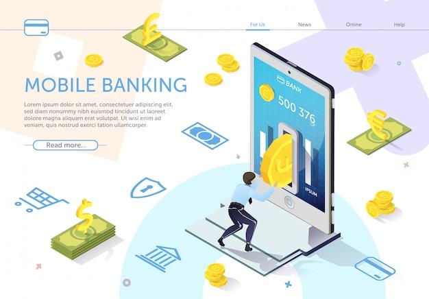 L'homme met la pièce dans un guichet automatique bancaire. vecteur de banque mobile Vecteur Premium