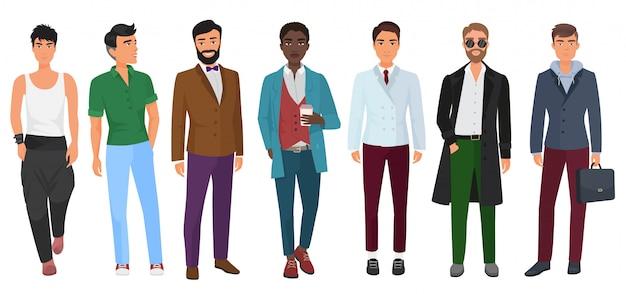 Homme de mode confiant de vecteur dans des vêtements décontractés isolé Vecteur Premium