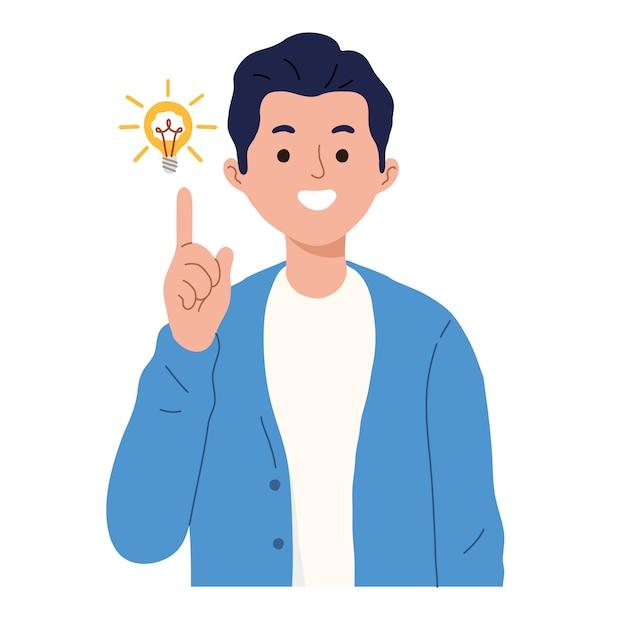 L'homme Montre Le Geste D'une Excellente Idée Vecteur gratuit