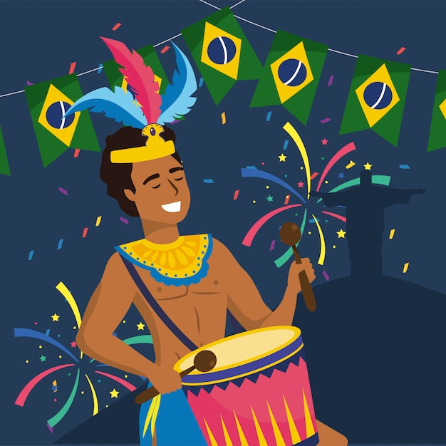 Homme musicien avec tambour et fête brésil Vecteur Premium