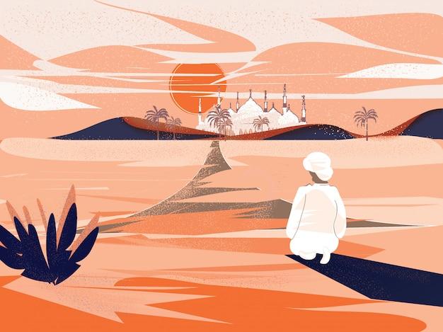 Homme musulman priant pendant le ramadan dans le désert avec la mosquée Vecteur Premium