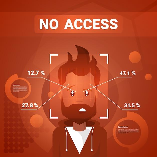 Homme n'ayant aucun accès après l'identification du visage, numérisation de la technologie moderne du concept de reconnaissance biométrique Vecteur Premium