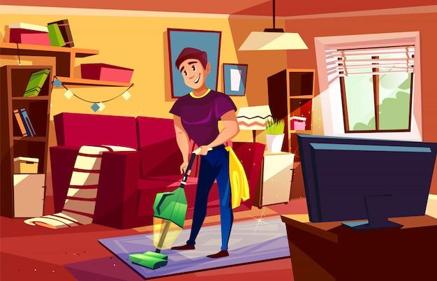 Homme, nettoyage, illustration salon, de, househusband, ou, collège, garçon, à, aspirateur Vecteur gratuit