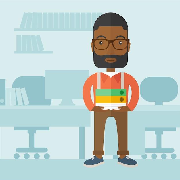 Homme noir debout dans son bureau. Vecteur Premium