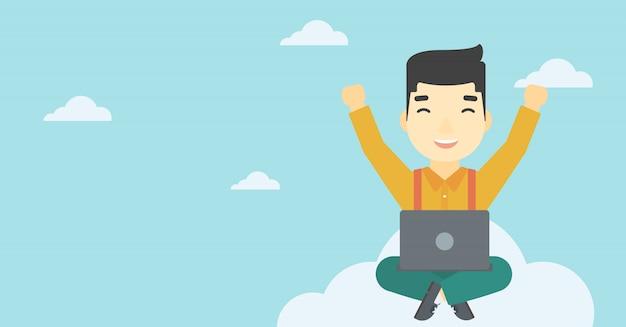 Homme sur le nuage avec un ordinateur portable Vecteur Premium