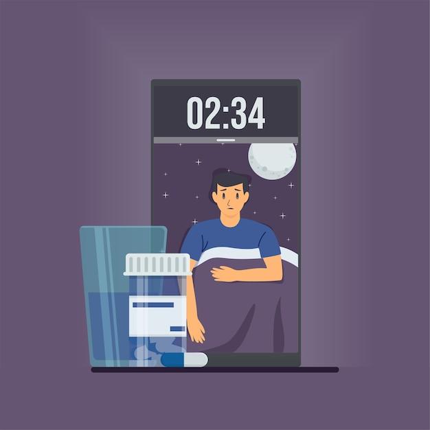L'homme Ouvre Les Yeux Sur Le Téléphone à Minuit Avec Des Capsules Métaphore De L'insomnie. Vecteur Premium