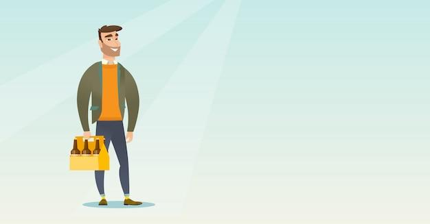 Homme avec pack de bière Vecteur Premium