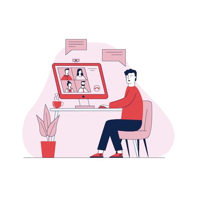 Homme Parlant Via Illustration Vectorielle De Vidéoconférence En Ligne Vecteur gratuit