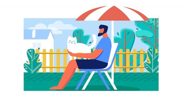 Homme passant son temps libre à l'extérieur sur une chaise longue Vecteur Premium
