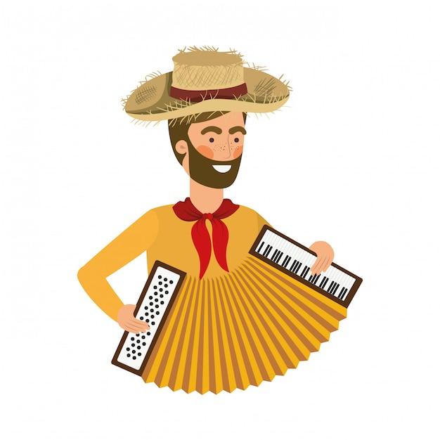 Homme de paysan avec instrument de musique Vecteur Premium