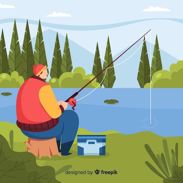 Homme pêchant au lac Vecteur gratuit