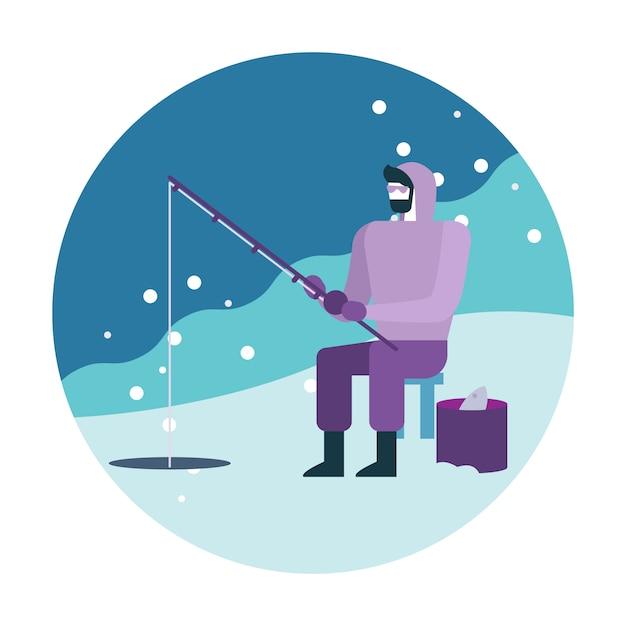 Homme pêchant sur la glace. Vecteur Premium