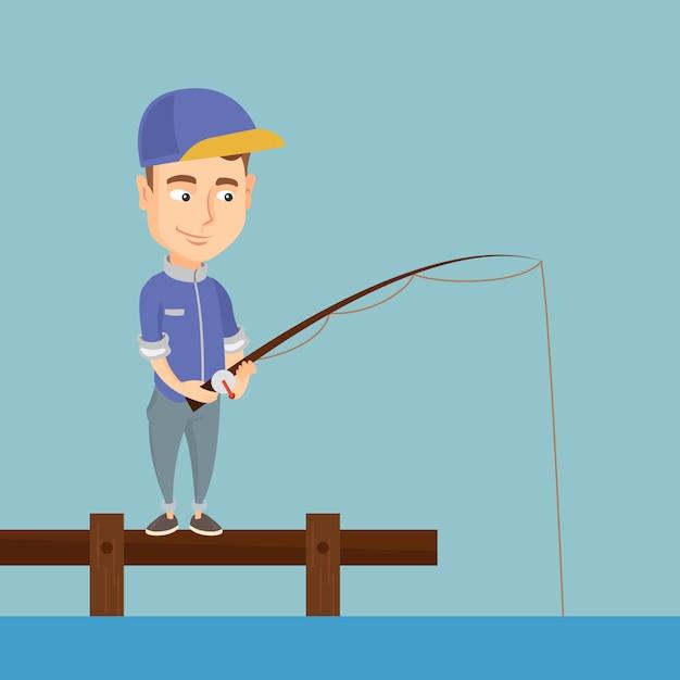 Homme de pêche sur l'illustration vectorielle de jetée. Vecteur Premium