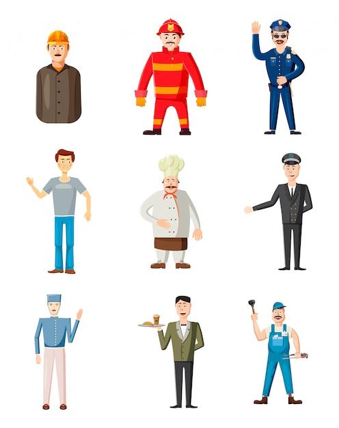 Homme personnages de différentes professions. jeu de dessin animé d'homme Vecteur Premium