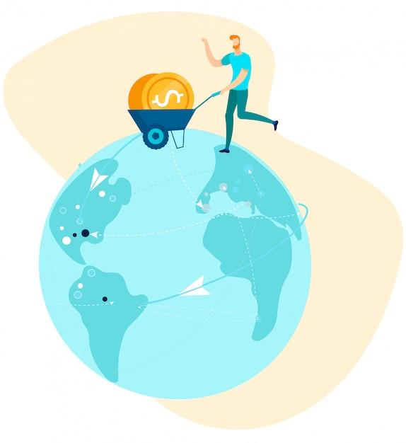 Homme avec des pièces dans le panier à la main en cours d'exécution sur le globe Vecteur Premium