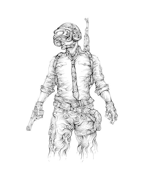 Homme avec pistolet, casque et fusil d'assaut dessin à la main Vecteur Premium