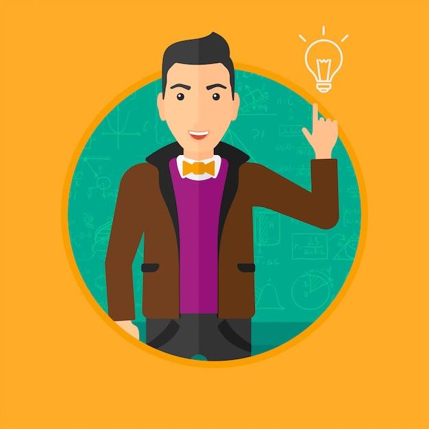 Homme, pointant ampoule Vecteur Premium