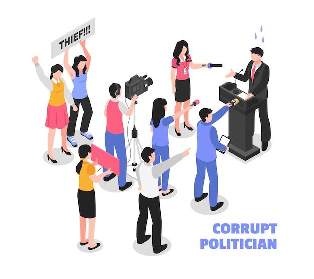 Homme Politique Corrompu Blanc Avec Un Voleur Politique Parlant De La Tribune Et Du Public Protestataire Isométrique Vecteur gratuit