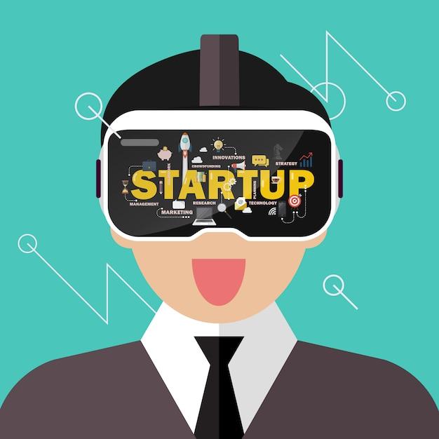 Homme portant un concept de démarrage de casque de réalité virtuelle Vecteur Premium