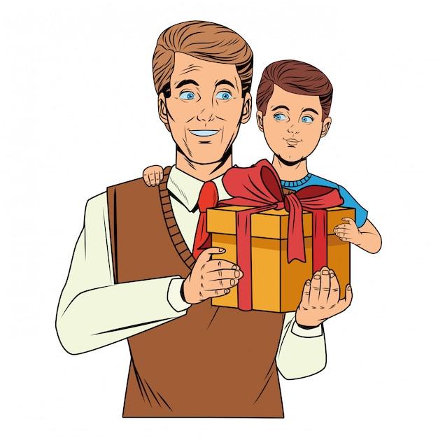 Homme portant un garçon avec une boîte-cadeau Vecteur gratuit