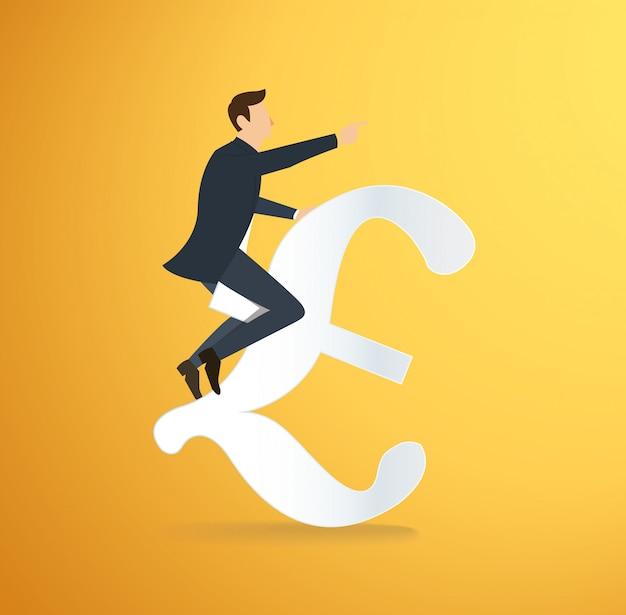 Un homme portant l'icône de l'euro Vecteur Premium