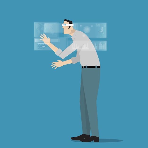 Homme Portant Des Lunettes De Réalité Virtuelle. Vecteur Premium