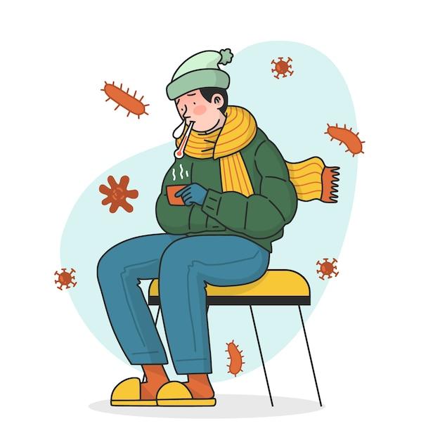 Homme Portant Des Vêtements Chauds Et Ayant Une Grippe Vecteur gratuit