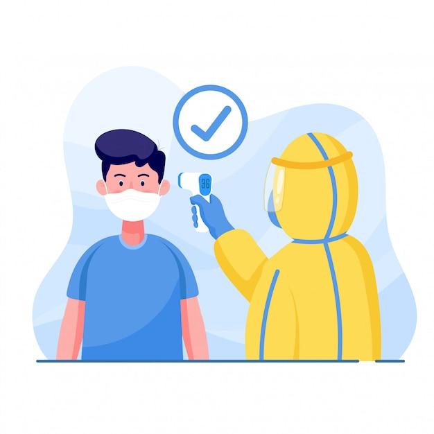Un Homme Portant Des Vêtements De Protection Mesure La Température De L'homme Pour Protéger Le Coronavirus. Concept De Virus Corona Mondial Et D'éclosion De Covid-19 Et D'attaque Pandémique. Vecteur Premium