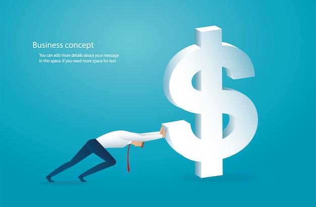 L'homme pousse le gros dollar vers le succès Vecteur Premium