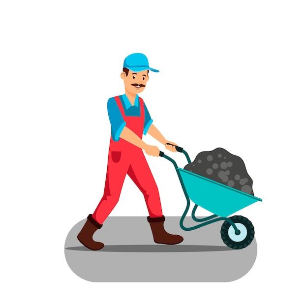 Homme, pousser, brouette, vecteur, illustration Vecteur Premium
