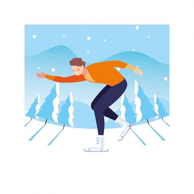 Homme Pratiquant Le Patinage Artistique Avec Paysage D'hiver Vecteur Premium