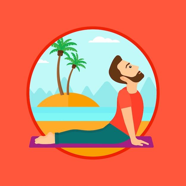 Homme pratiquant le yoga vers le haut chien pose sur la plage. Vecteur Premium