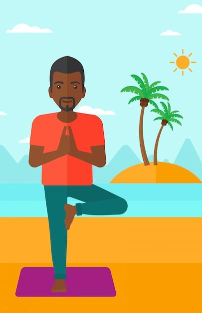 Homme pratiquant le yoga. Vecteur Premium