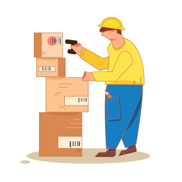 Homme prenant une photo d'un code à barres sur les étagères de l'emballage avec un scanner Vecteur Premium