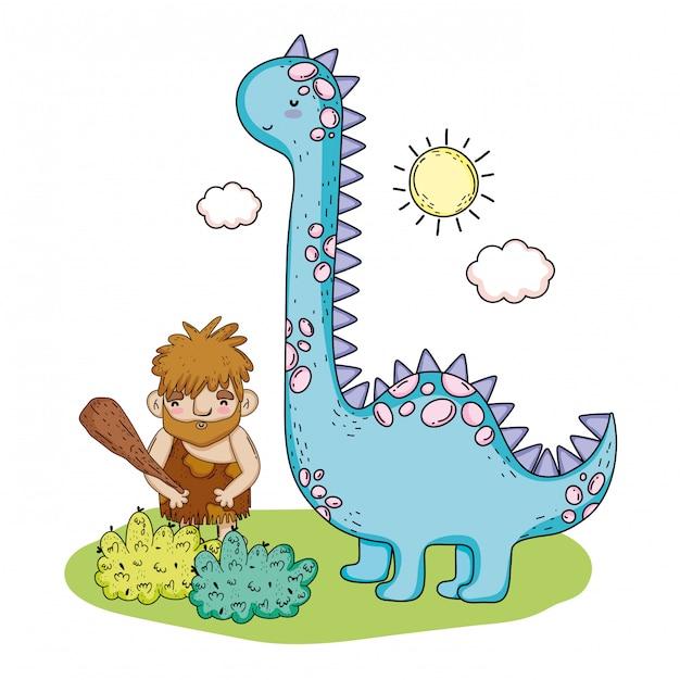 Homme Primitif Avec Animal Préhistorique Brontosaure Vecteur Premium
