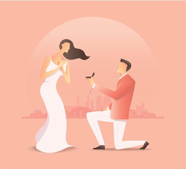 Homme proposant à la femme, proposition de mariage Vecteur Premium