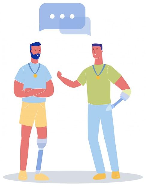 Homme avec prothèse de jambe, conversation avec prothèse de bras Vecteur Premium