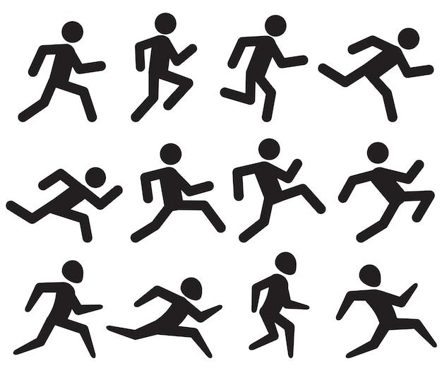 Homme qui court figure pictogrammes noirs Vecteur Premium