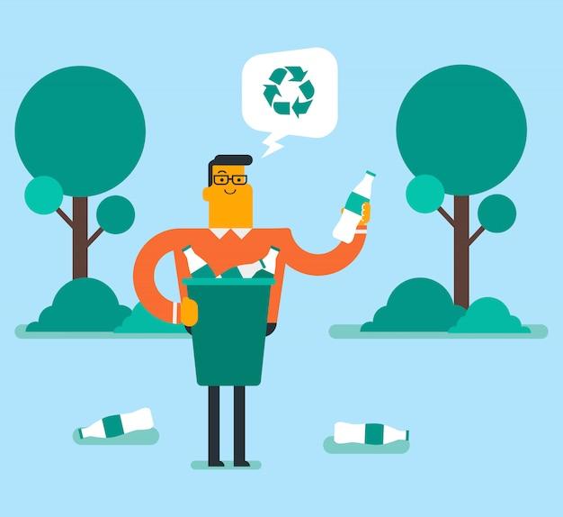Homme Ramassant Une Bouteille En Plastique Dans Un Bac De Recyclage. Vecteur Premium