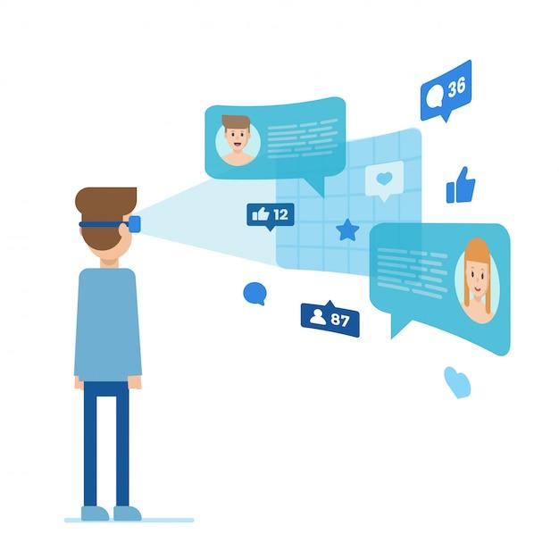 Homme en réalité virtuelle parlant avec des gens Vecteur Premium