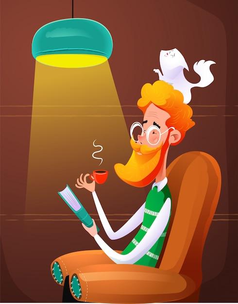 Homme rousse amusant lire livre assis sur une chaise. Vecteur Premium