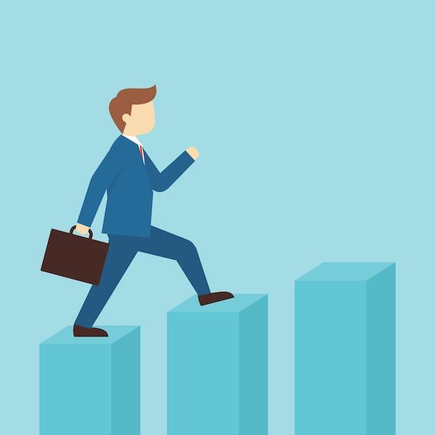 Un homme saute à l'illustration de la colonne du graphique Vecteur Premium
