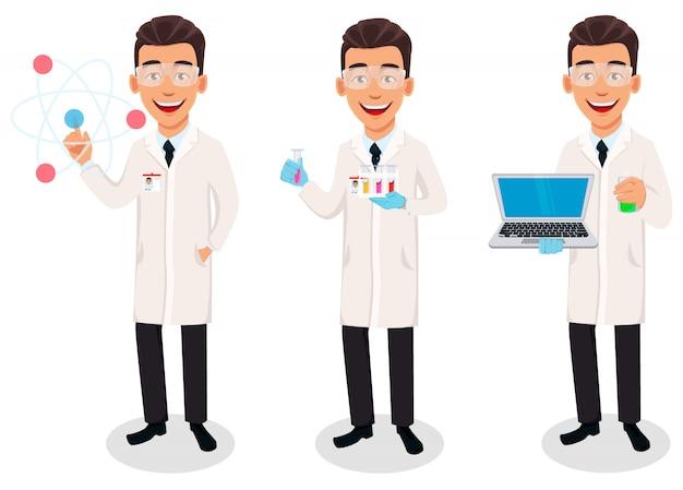 Homme scientifique, ensemble de trois poses Vecteur Premium